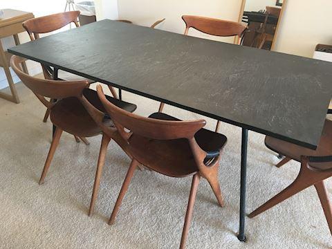 Mid Century Modern Slate Metal Angular Frame Table