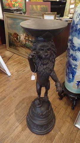 Pair Bronze Lion Pedestals
