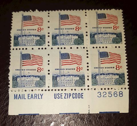 Vintage Plate Block of 6-8¢ United States Stamps
