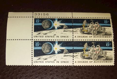 1971 US in Space Plate Block of 4-8¢ Stamps MNH