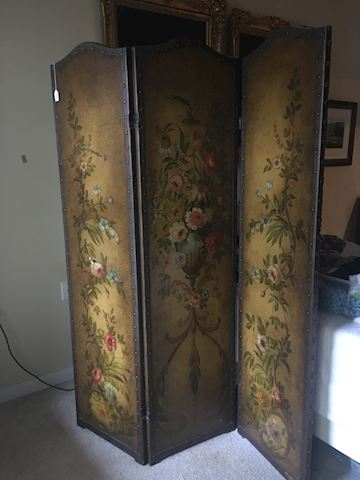 Vintage French hand painted screen