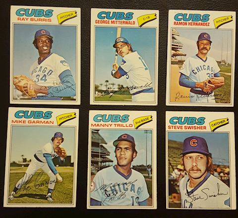 1977 Collection of 6 Chicago Cubs Baseball Cards