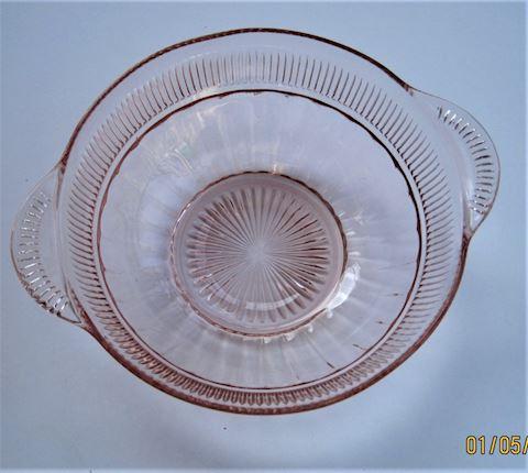 Pink Depression Glass Handled Bowl