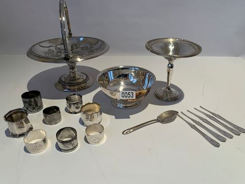 Lot 0053 Assorted Antique Silver and Pewter