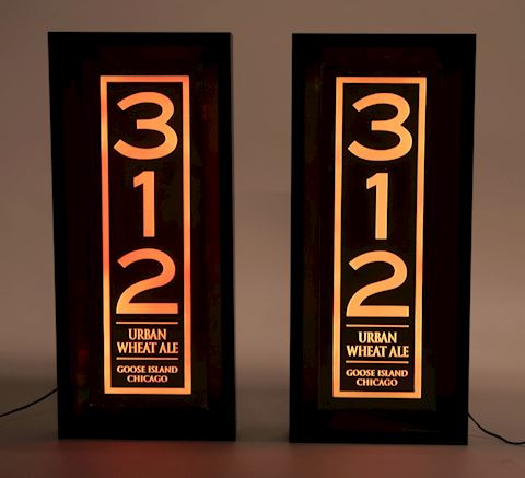 (2) Rare 312 shadowbox lighted signs