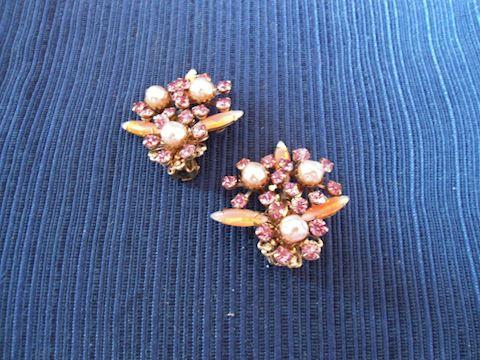 Vintage Pair of Rhinestone and Pearl Earrings-Clip