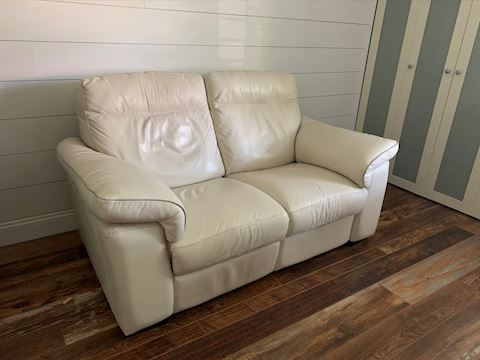 White Leather Electric Recliner Loveseat