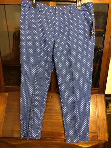 New Merona blue ladies slacks with white dots, 14