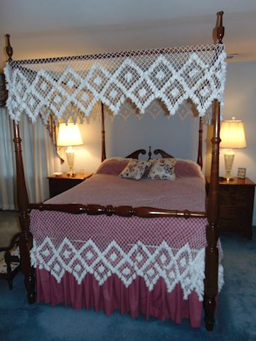 Oak Four-Poster Queen Bed with Canopy