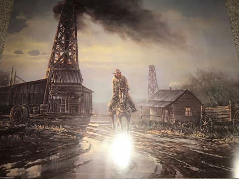 R. C Purcal Poster of cowboy and Oil Rig 16 X 20