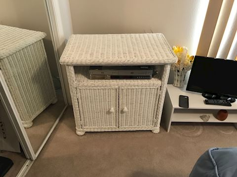 White Wicker Stand