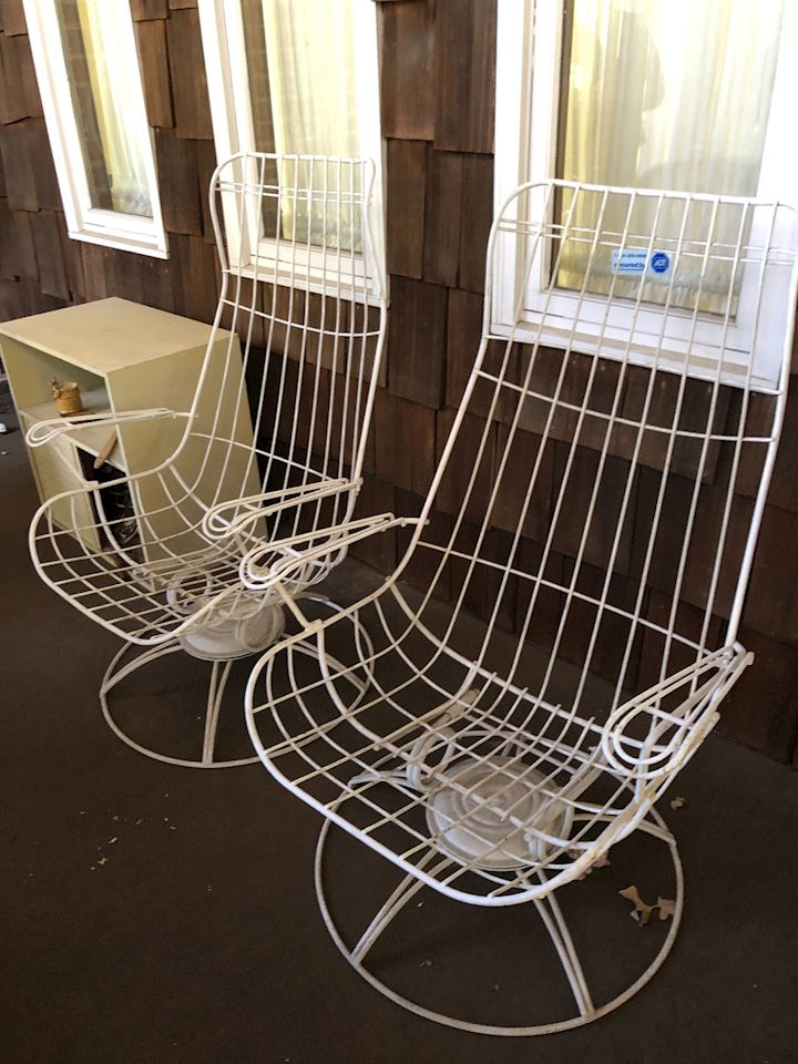 BUY ONLINE! Homecrest MCM patio,Retro barstools,Antique RR lanterns,Sterling,Waterford,Coins,Books